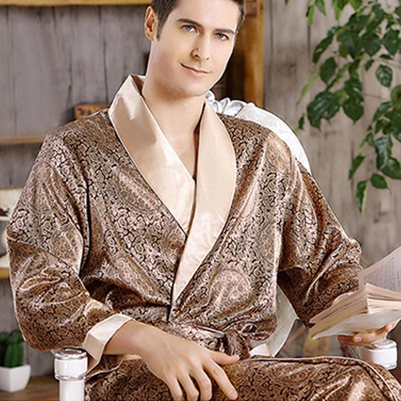 Male New Real Mens Luxury Bathrobe Geometric Robes V-Neck Lmitation Silk Knitted Sleepwear Full Sleeve Nightwear XXXL 5 Colors