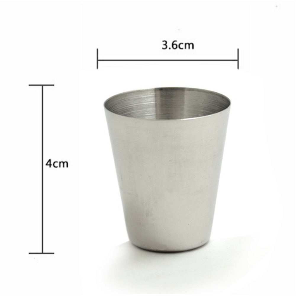 4Pcs Set 30ML Stainless Steel Polished Wine Drinking Shot Glasses Cup With Leather Cover Case Bag