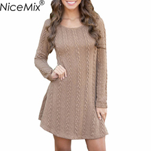 NiceMix 2019 Plus Size Sweater Dress Women Casual Long Sleeve Knitted Sweaters Dresses Female Loose Winter Dress Vestidos fashion autumn knitted dresses women casual long sleeve loose asymmetry sweater dress large size long dress vestidos