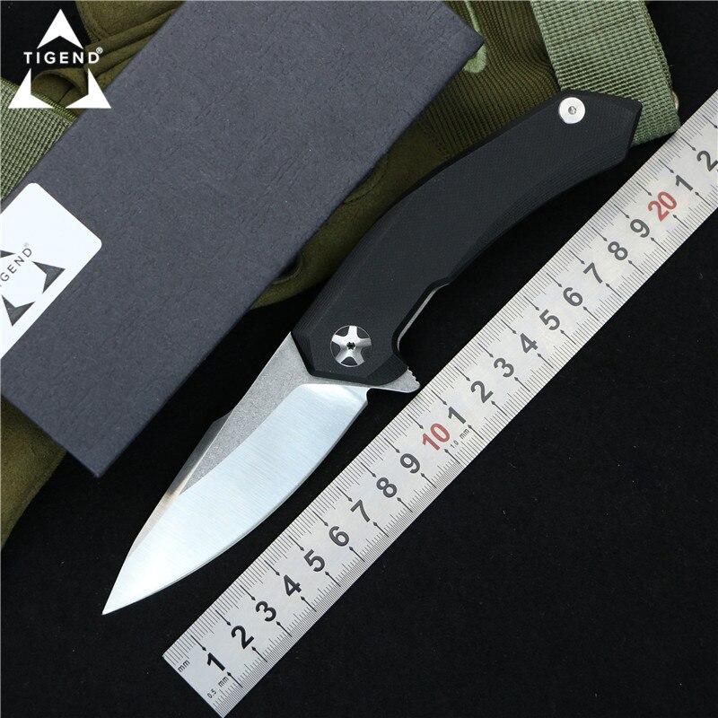 TIGEND haute qualité ZT0095 Flipper couteau pliant 9Cr14Mov lame G10 poignée extérieure camping chasse poche fruits Couteaux EDC outils