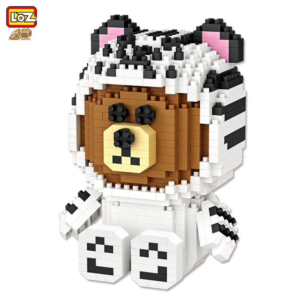 LOZ Diamond Blocks White Tiger Brown Cartoon Block Bear Action Figures Plastic Assembly Toys Educational 9789 760PCS loz diamond blocks figuras classic anime figures toys captain football player blocks i block fun toys ideas nano bricks 9548