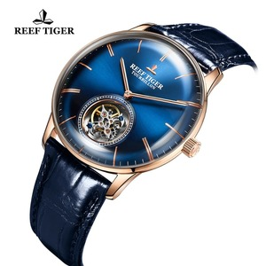 Image 5 - Reef Tiger/RT Men Luxury Brand Tourbillon Watch Blue Rose Gold Automatic Watches Genuine Leather Strap relogio masculine RGA1930