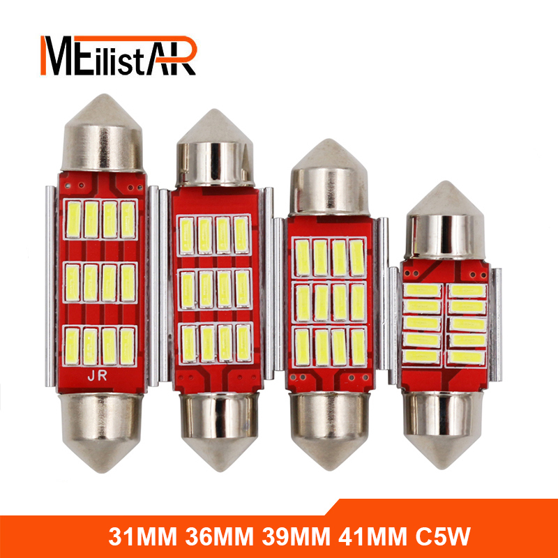 4pcs 31mm 36mm 39mm 41mm C5W C10W CANBUS NO Error Auto Festoon Light 12 SMD 4014 LED Car Interior Dome Lamp Reading Bulb DC 12V 2pcs festoon led 36mm 39mm 41mm canbus auto led lamp 12v festoon dome light led car dome reading lights c5w led canbus 36mm 39mm