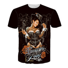 2017 Brand Clothing Women Men's Fashion 3D Print T shirt Sexy Tattoo Girl Lady Cigar Women Funny Casual Fitness Tops