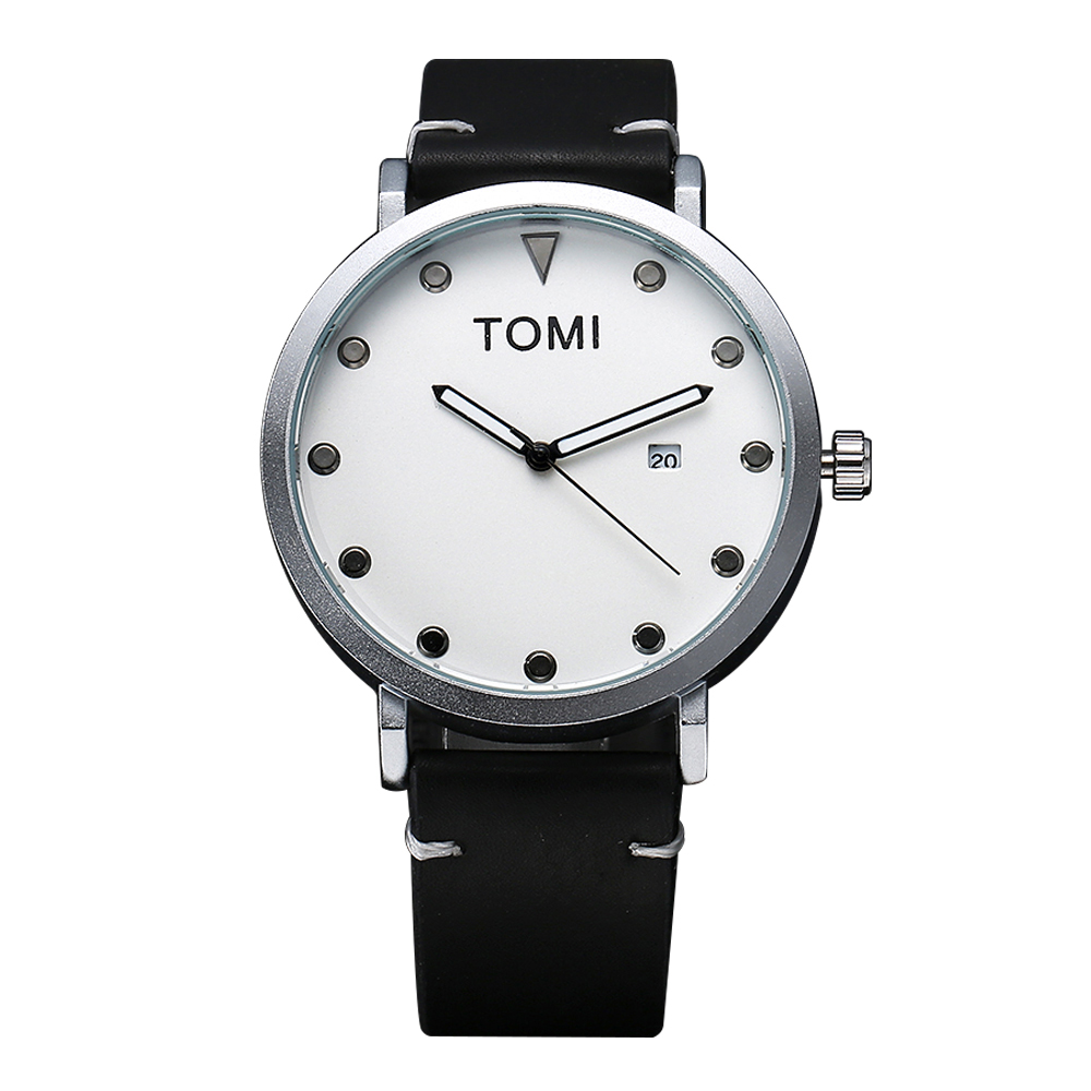 все цены на Tomi Brand Men Watches Woman New Luxury Brand Thin Dial Leather Clock Male Casual Sport Watch Men Neutral Quartz Couple Watch онлайн