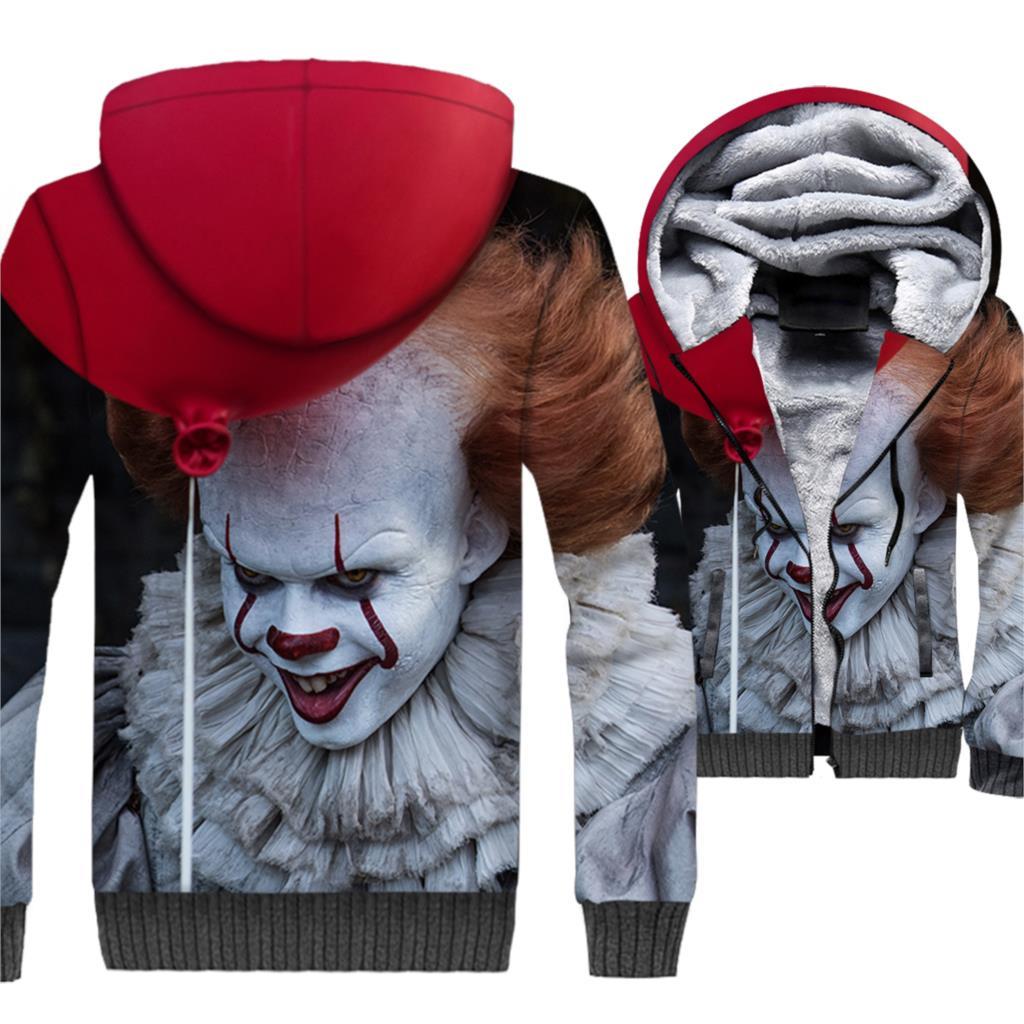 Mal Joker 3D Épais À Capuche de Stephen King Il Streetwear Hommes de Hoodies 2018 Automne Hiver Vestes Zippées Hanche Hop sweats Hommes