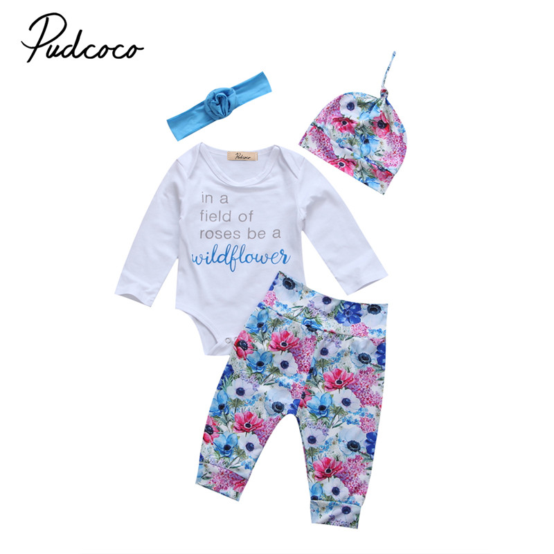 0 to 24M Newborn Kids Baby Girls Clothes Long Sleeve Bodysuit+ Floral Long Pants+Hat+Headdress4pcs Outfits Baby Clothing Set