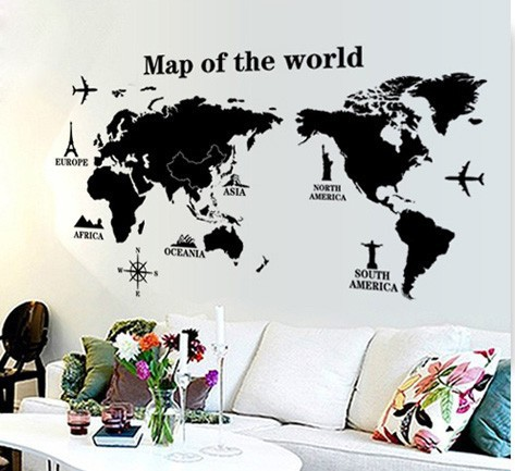 Quality Modern Black World Map Wall Stickers Pvc Stencil Men Living Room Home Decor Office School Clroom Mural Removal Decals