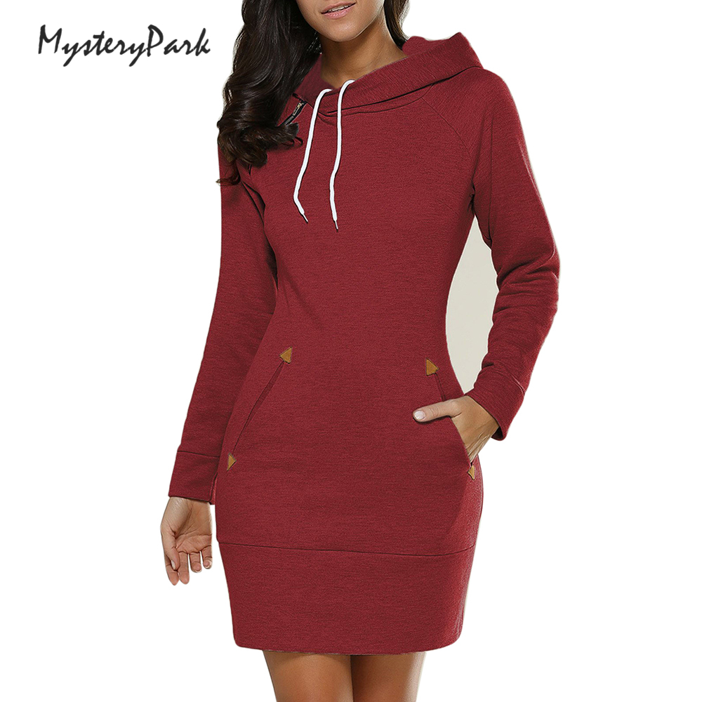 MysteryPark Women Dresess 2017 New Autumn Winter Hooded Long Sleeve Vestido Dress Girls  ...