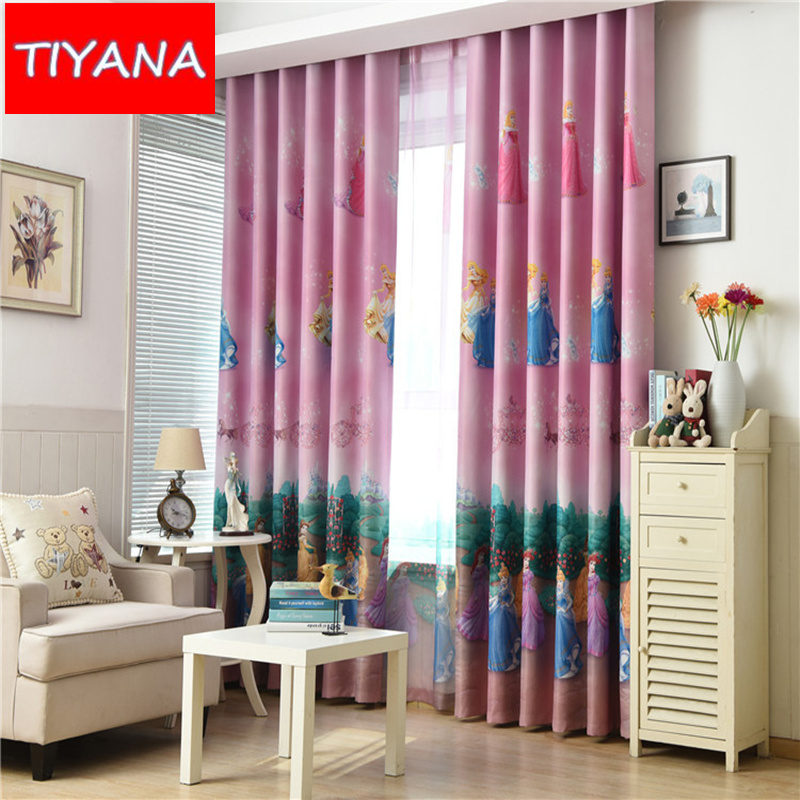 Pink cartoon princess curtains for child bedroom blue for Fabrics for children s rooms