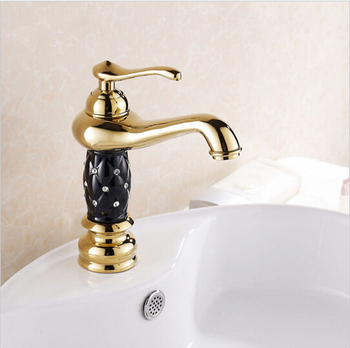 High Quality Gold Finish with black painting Bathroom Sink Faucet Creative Design Single Lever Basin Faucet with ceramic body