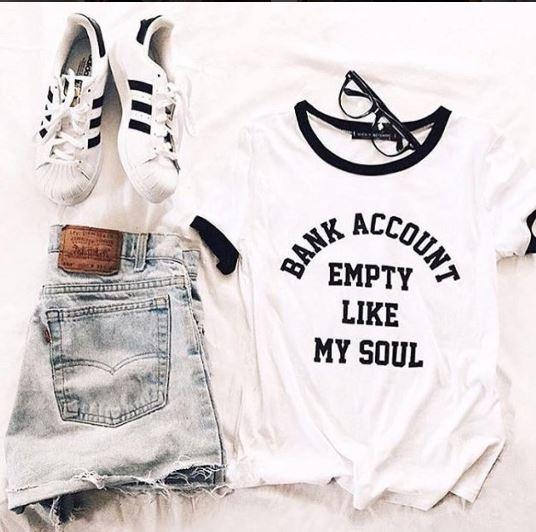 Bank Account Empty Like My Soul Tumblr Shirt Hipster Grunge Funny T Shirt Aesthetic Ringer T Shirt Casual Top Tees