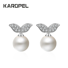Trendy Silver Jewelry White Simulated Pearl Stud Earrings Micro Pave Cubic Zirconia Small For Women Girl Party Gift