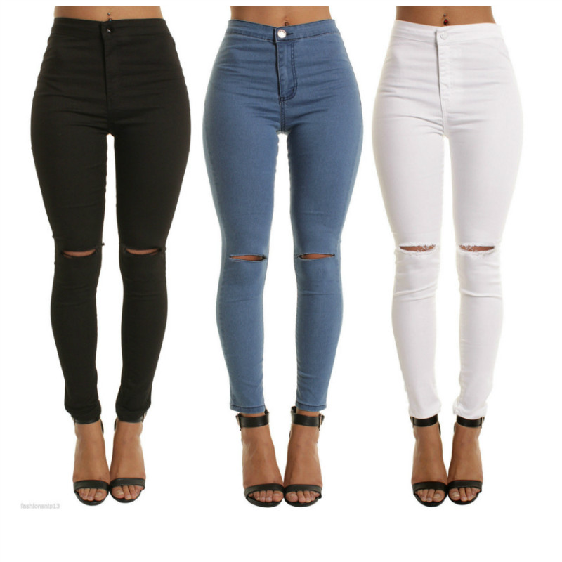 Women jeans in the waist solid color stretch jeans were thin knee hole pants pants free ripped jeans for women polyester fitness