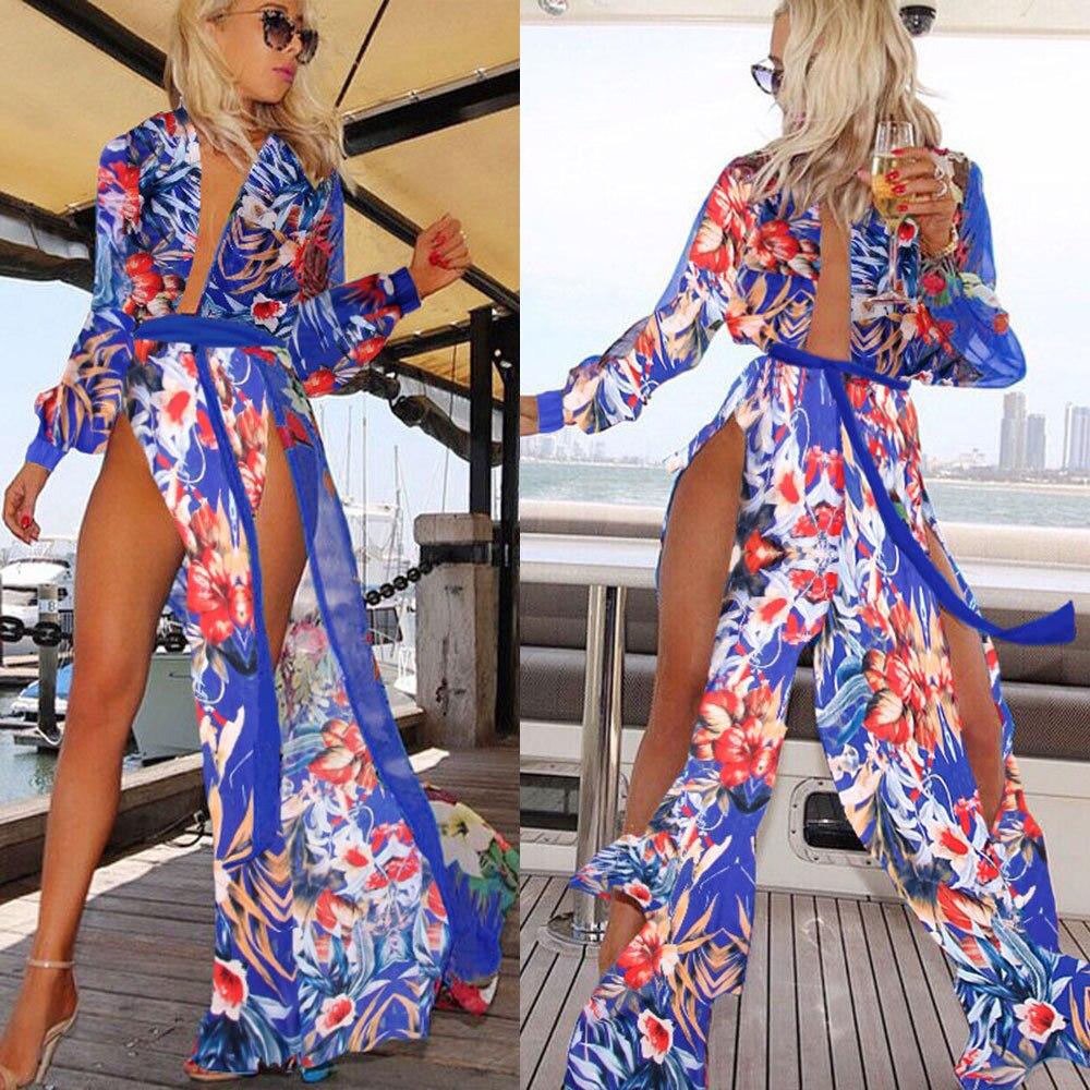 Discounted Sommerkleid Frauen Blumenstrandkleid Blume Langes Kleid - Damenbekleidung - Foto 2