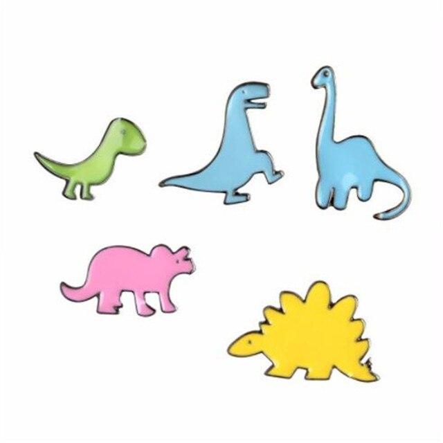 WKOUD/Цветная эмалированная брошь с динозавром, апатозавр, стегозавр, заколки, джинсовая одежда, значок на пуговицах, мультфильм, ювелирные изделия, подарок для детей, мальчиков