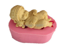 Free shipping Cute sleeping baby modelling fondant silicon mold chocolate cake decoration silicone