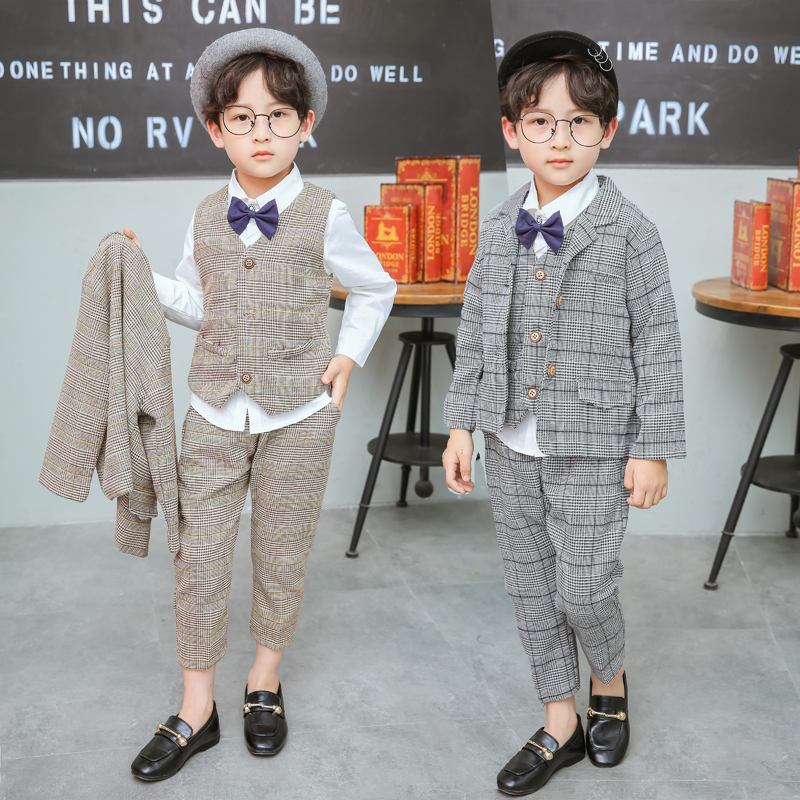1-7Y new 2018 spring boys plaid gentlemen Western-style blazer+vest+shirt+pant clothing sets 4pcs boys full dress clothes sets kids spring formal clothes set children boys three piece suit cool pant vest coat performance wear western style