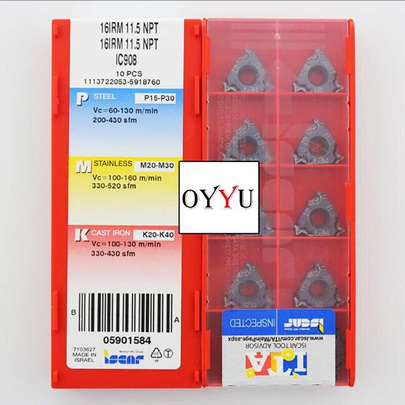 16 IRM 11.5 NPT IC908, plaquettes de filetage internes d'origine en carbure ISCAR