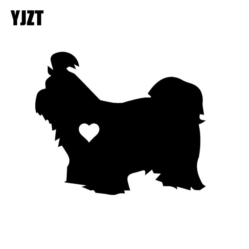 YJZT 14.5CM*12.2CM  Shih Tzu Heart Silhouette Car Sticker Black/Silver C2-3120