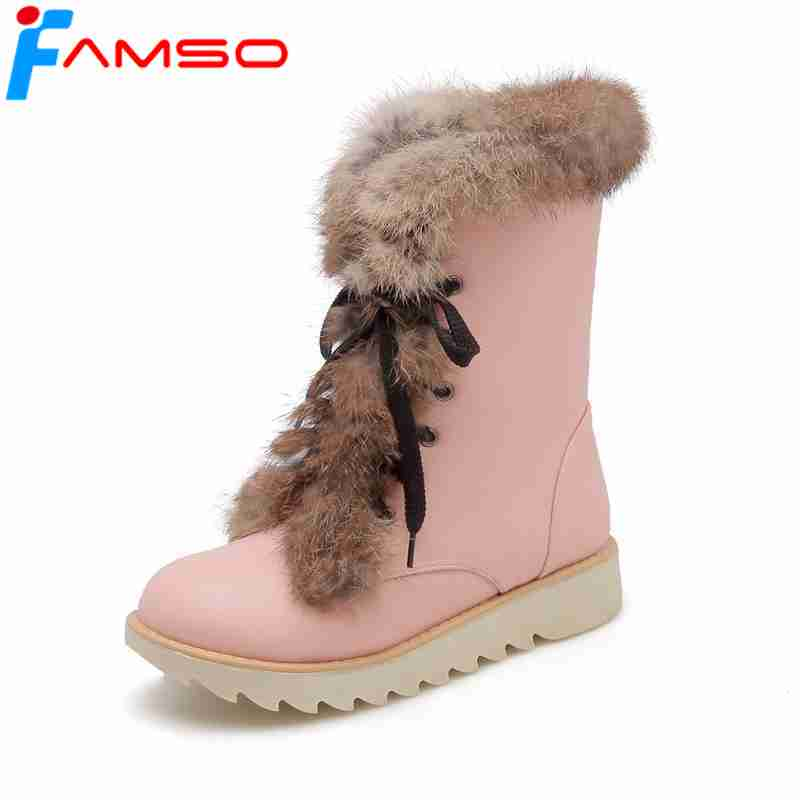 FAMSO 2019 Shoes Women Boots Autumn Winter Real Fur Snow Boots Designer Flats Shoes Russia Winter Waterproof Snow Boots Heels