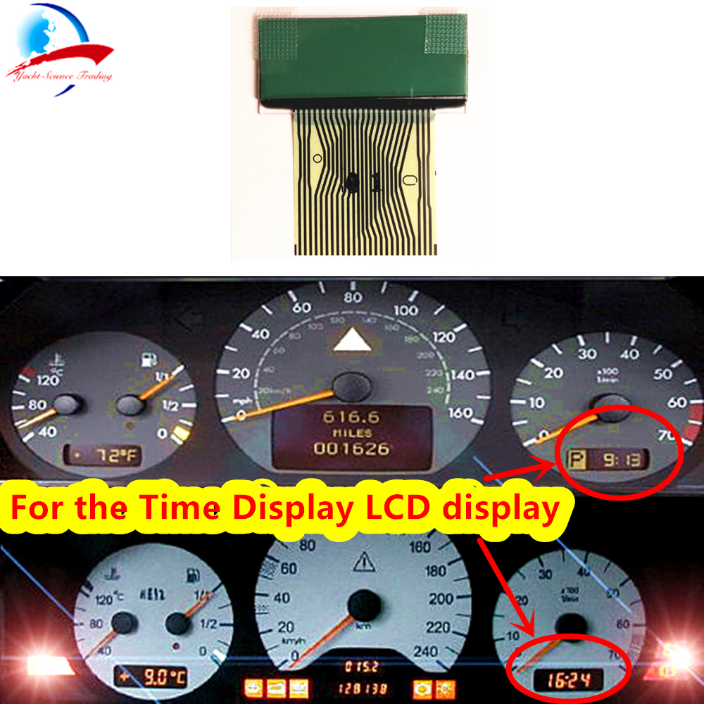 1pcs Right Side LCD Screen Time Display & Gear Selector With Ribbon Cable For Pixel Repair For Mercedes Benz W202 W208 W210 R170