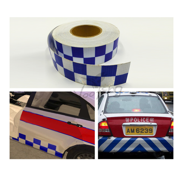 5cmX50m Traffic Multi Color Grid Design Conspicuity Reflective Safety Warning Tape Film Stickers Stripe for Truck