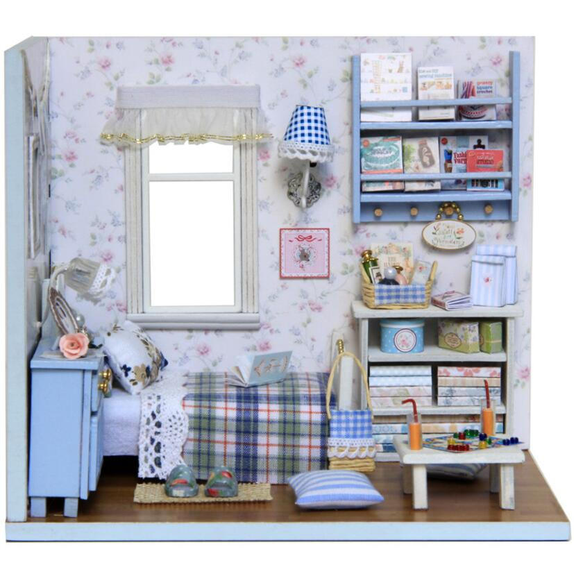 New Doll House Toy Miniature Wooden Doll House Loft With: Handmade Doll Houses Miniature Dollhouse Lighting Wooden