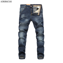 AIRGRACIAS męskie markowe jeansy męskie bawełniane proste ciemnoniebieskie Jean Cowboy Jean długie spodnie rozmiar 28 40