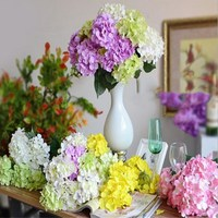 New Arrival 1pcs 6 heads rural style Artifical Silk flower hydrangea Wedding Decorative Simation Flowers 7 colour Free shipping