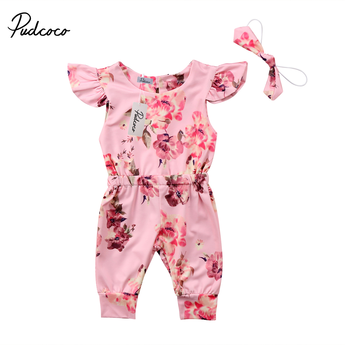 Pudcoco Toddler Infant Baby Girls Romper Floral Romper Sunsuit Summer Flying Sleeve Jumpsuit Cotton Clothes Outfit