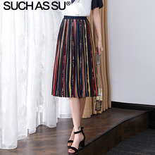 New 2019 Summer Chiffon Pleated Skirts Women 3 Color Stripe Geometric Print Skirt Mid Long Elastic High Waist Female Skirt western style color block broad stripe print elastic waist chiffon maxi dress for women