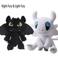 2019 How to Train Your Dragon 3 Plush Toy Night Fury Light Fury Toothless Soft Stuffed Doll White Dragon Birthday Gift 30cm