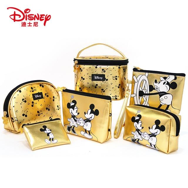 Disney Minnie Mouse portable cosmetic make up bag multi-purpose storage coin golden purse handbag cartoon Mickey Mouse Makeup PU
