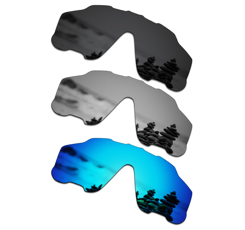 SmartVLT 3 Pieces Polarized Sunglasses Replacement Lenses for Oakley Jawbreaker Stealth Black and Silver Titanium and Ice Blue