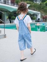 2019 New Summer Girls Jumpsuit/overalls Baby Denim Overalls Kids Print Baby Girl Jumpsuit 6 7 8 9 10 12 Year Pant Kz Bebek Tulum