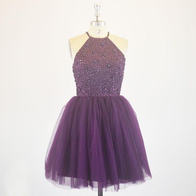High Neck Puffy Tulle Short Prom Dresses Purple 8 Grade Graduation ...