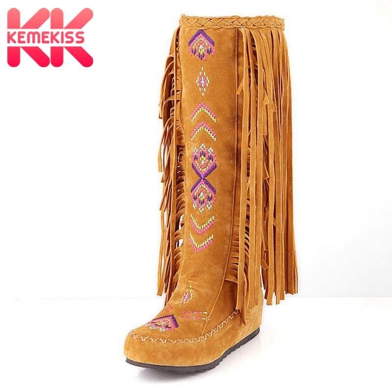 KemeKiss moda china nación estilo Flock mujeres de cuero franja tacones planos botas largas Mujer borla de la rodilla botas altas tamaño 34 -43