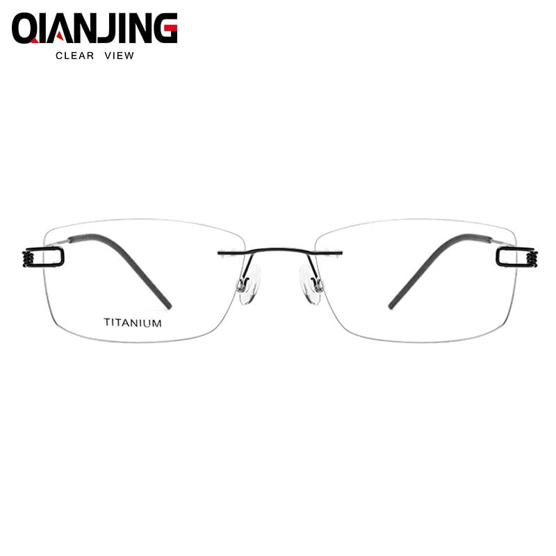 No Screw Ultralight Design Rimless Titanium Glasses Frame Men Prescription Square Eyeglasses Myopia Optical Women Frame Eyewear