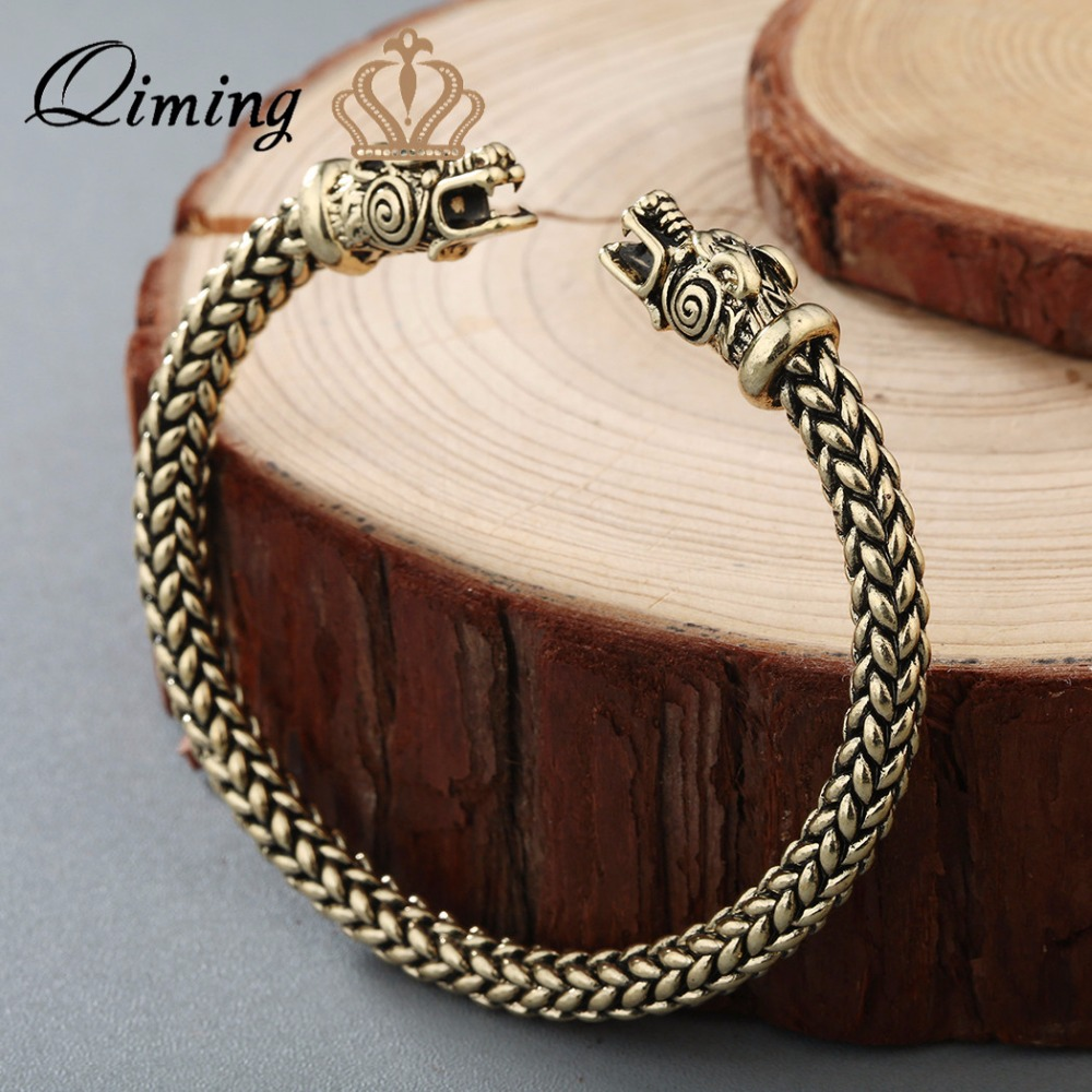 QIMING Nordic Viking Dragon Solid Vintage Bangle Cuff Bracelet Women Scandinavian Historical Costume Accessories for Men Jewelry