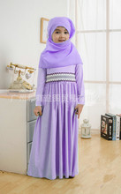 Roupas para crianças Malásia alta qualidade jibabs abaya muçulmano islâmico kaftan para a menina vestido de princesa