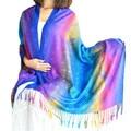 Multi Rainbow Feather Shawl Wraps Soft Long Fringe Scarf  Women Pashmina Echarpe Hijab Bandana Tassel Foulard Winter Scarves