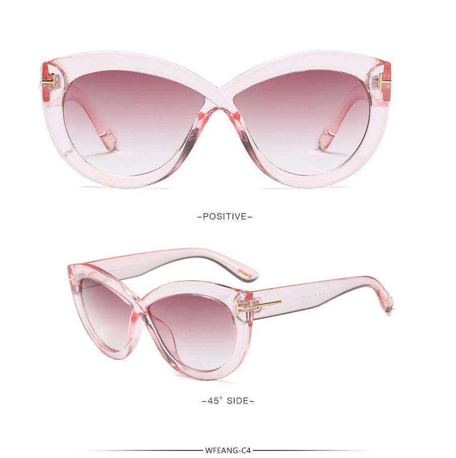 356f6b0f9e9 WFEANG Cat Eye Sunglasses For Women Pink Mirror Shades Female Sun ...