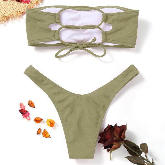 Belleziva 2018 Woman Bikinis Sexy Bandage Swimsuit Swimwear Halter Brazilian Bikini Beach Bathing Suits Biquini Maillot De Bain