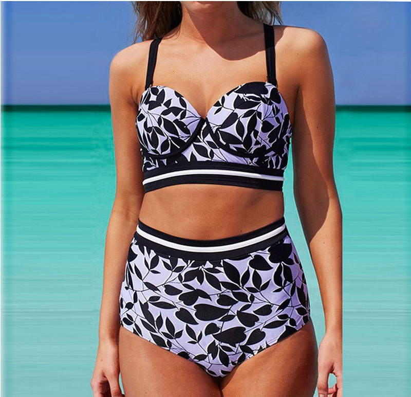 2017 Women's Leaves Print Push Up High Waist Plus Size Bikinis Sets Swimwear Swimsuit Brazilian Beach Wear Bathing Suit 3XL