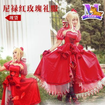 [STOCK] 2018 Anime Fate/Grand Order Saber Nero Rose Party Dress Cosplay Costume Full Set For Women Halloween Free Shipping New.
