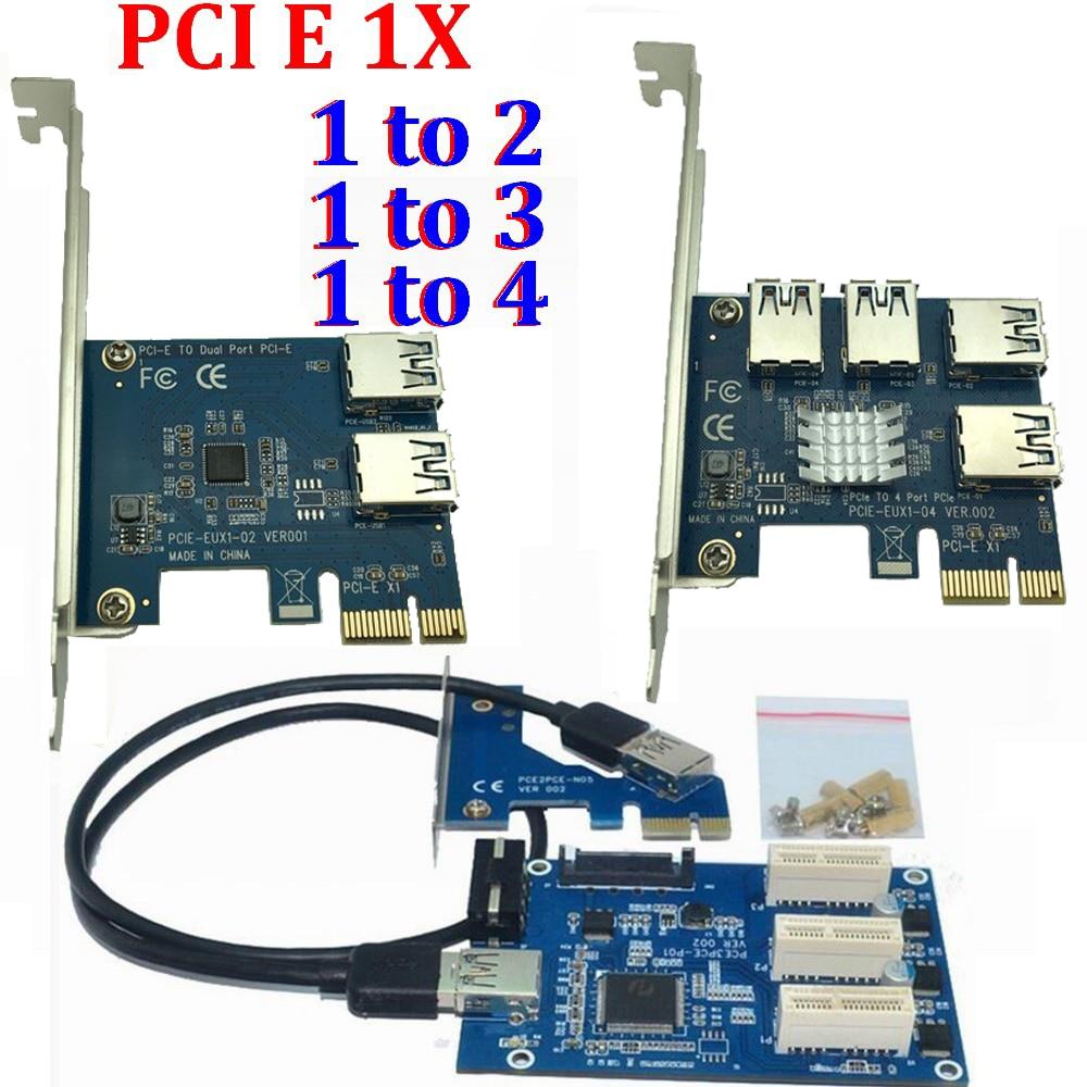 PCI e 1 para 3 1X slots PCI express Riser Cartão Mini ITX para 3 externo adaptador de slot PCI-E PCIe multiplicador de porta Cartão VER005 1X PARA 16