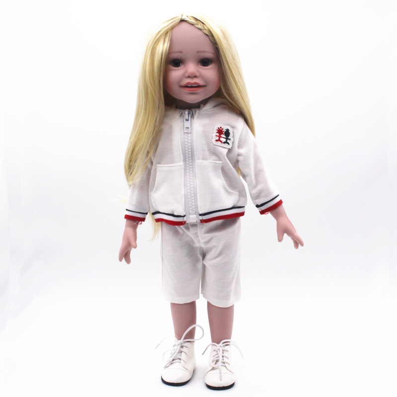 18Inches Sportswear American Girl Doll Full Vinyl Girl Doll Realistic Hobbies Handmade Baby Alive Doll Children Fashion Gifts кукла fashion royalty crazy girl misaki nippon fashion doll 2008