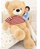 Мягкие плюшевые игрушки огромный 180 см мишки, одетый красный в полоску свитер медведь мягкая кукла обнимая подушку, CDhristmas подарок s2808
