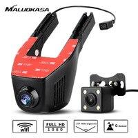 MALUOKASA WiFi Car DVR Dash Cam With One Dual Cameras Registrator 1080P Digital Zoom Video Recorder